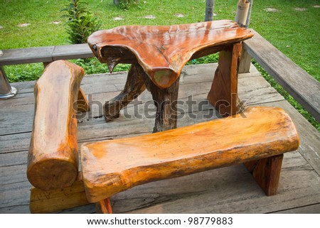 Table in the garden. - stock photo