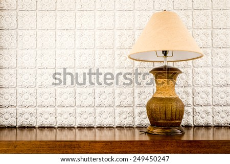 table lamp on white background - stock photo