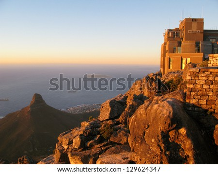 Table Mountain and Lion's Head located in Cape Town, South Africa. The Table Mountain National Park. - stock photo