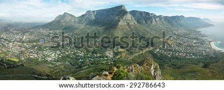 Table Mountain and twelve apostles from Lions head, Cape Town, South Africa - stock photo