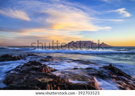 Table Mountain at Sunset, South Africa - stock photo