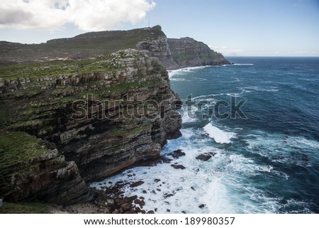 Table Mountain National Park, located on the Cape of Good Hope peninsula, is one of the most visited National Parks in Africa. The park is set near the southernmost tip of the African continent. - stock photo