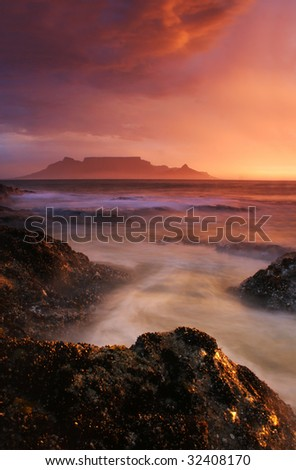 Table Mountian and storm - stock photo