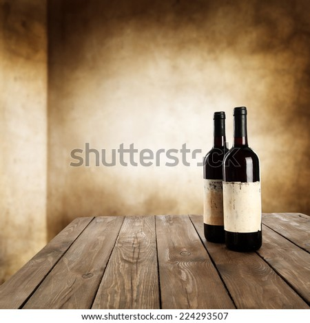 table of brown color and wine  - stock photo
