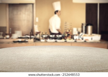 table of tablecloth and cook  - stock photo