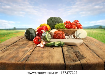table of vegetables and sky  - stock photo