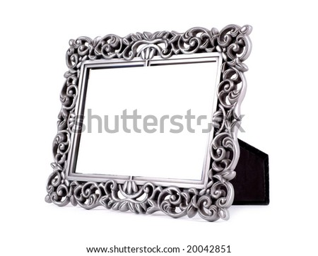 Table photo frame isolated on white - stock photo