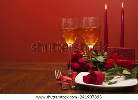 Table place setting for Valentine's Day - stock photo