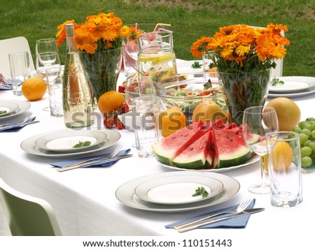 Table ready for party in a garden - stock photo