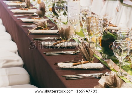 table set for a wedding dinner - colorized photo - stock photo
