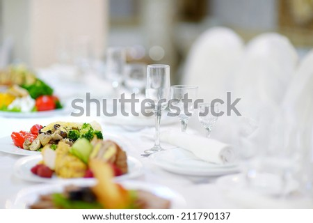 Table set for an event, party or wedding reception - stock photo
