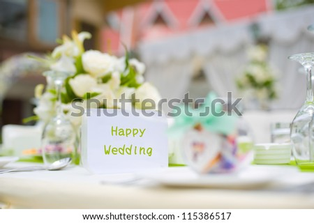 Table set for an party or wedding reception - stock photo