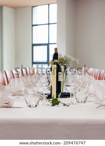 Table set for event party or wedding reception - stock photo