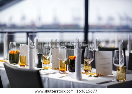 table set for wedding or another catered event dinner - stock photo