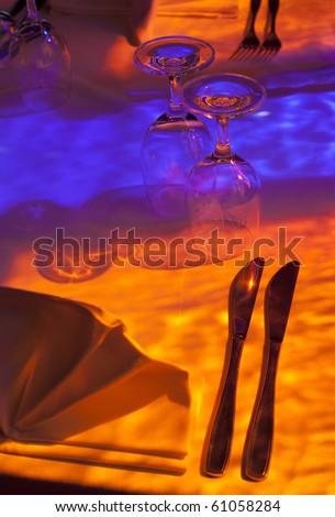 Table set in restaurant - stock photo