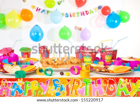 Table set up for a child's party - stock photo
