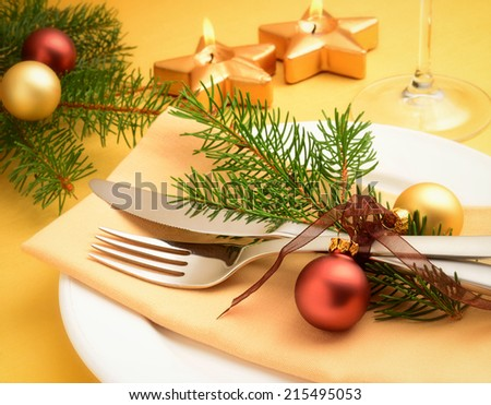 table setting at christmas - stock photo