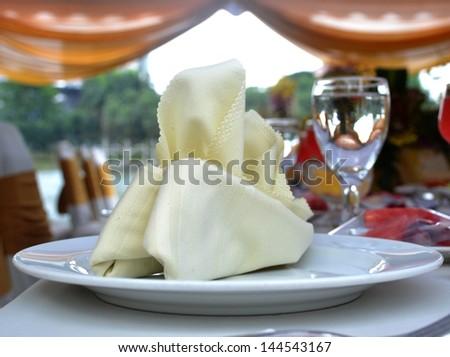 Table setting at wedding reception - stock photo