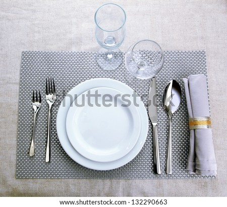 Table setting, close up - stock photo