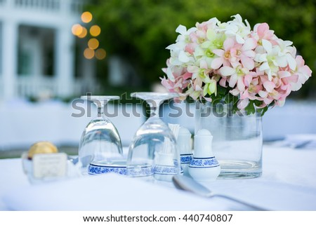 table setting dinner  on  beach in Thailand - stock photo
