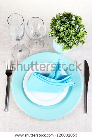 Table setting festive table - stock photo