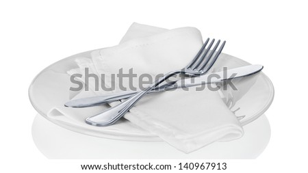 Table Setting,Folded Napkin, on white - stock photo
