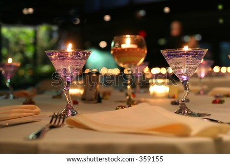 Table setting for a banquet. - stock photo
