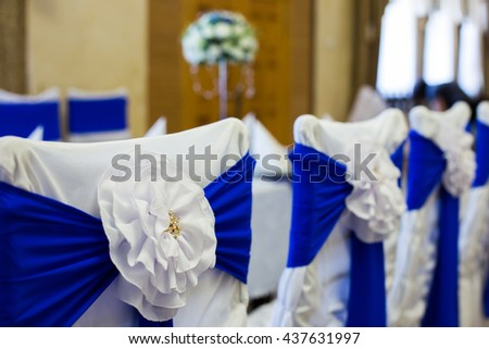 Table setting for a wedding reception at the restaurant - stock photo