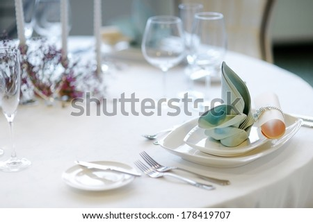 Table setting for an event party or wedding reception - stock photo