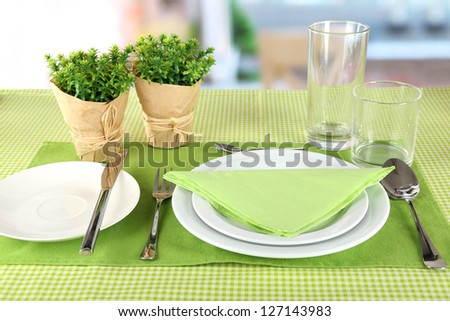 Table setting for breakfast - stock photo