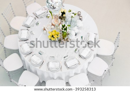 Table setting for wedding celebration or party.Top view. - stock photo