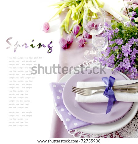 Table setting in purple color - 2 - stock photo