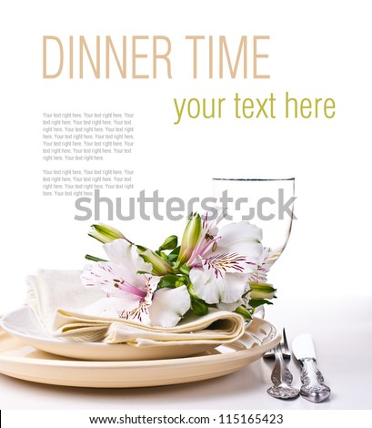 Table setting with white alstroemeria flowers, napkins and yellow plates, close-up, ready template - stock photo