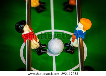 Table Soccer or Foosball Kicker Game, Selective Focus, Retro Tone Effect - stock photo