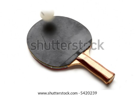 table-tennis bat with bouncing ball - stock photo