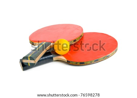 Table Tennis Bats with Ball. Sports equipment. Ping Pong. Red wooden Ping Pong Paddles isolation. - stock photo