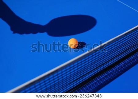 Table tennis equipment racket, ball and net - stock photo
