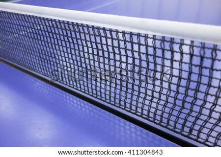 Table tennis net closeup.Ping pong - stock photo