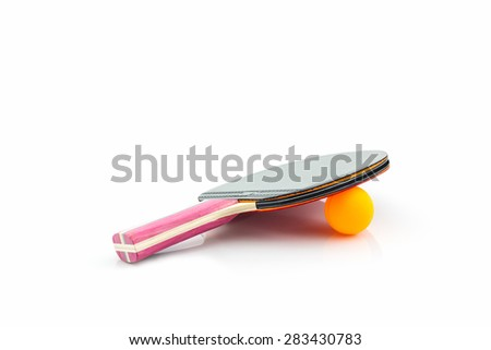 Table tennis (ping-pong) racket and a ball on white background. - stock photo