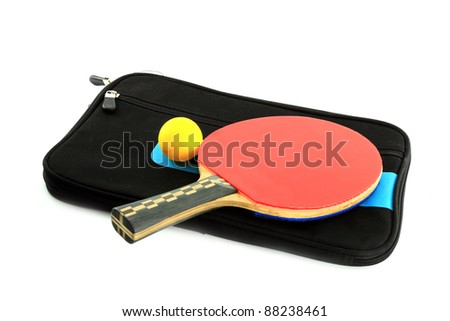 Table tennis racket  and ball with case on white background - stock photo