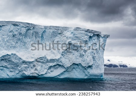 Table top iceberg from glacier - stock photo