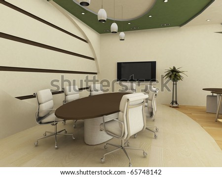 Table with chairs in  conference interior. Office. - stock photo