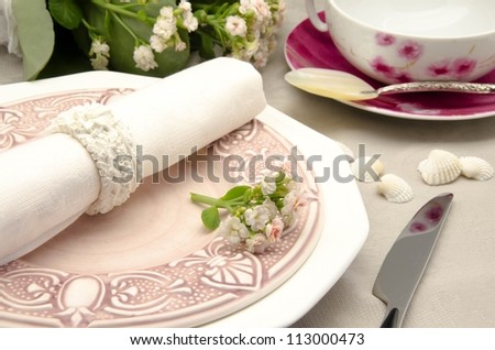 Table with dishes prepared for celebrations and banquets - stock photo