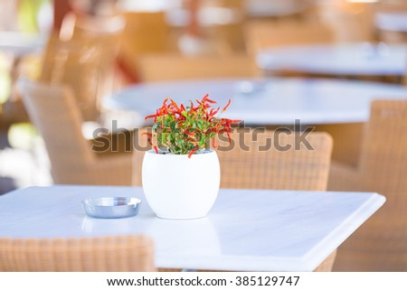 Table with flower in street cafe. empty table - stock photo