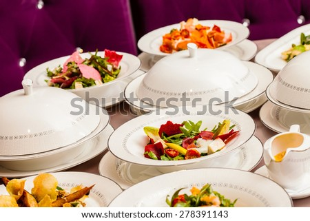 table with food - stock photo