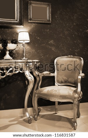 table with fruit in a fashionable apartment - stock photo