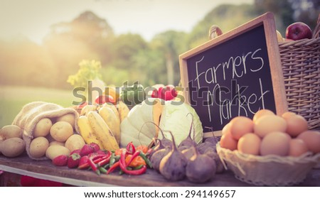 Table with locally grown vegetables in the park - stock photo