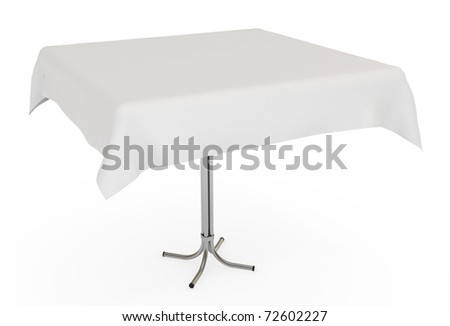 Table with white cloth, isolated on white with clipping path, 3d illustration - stock photo