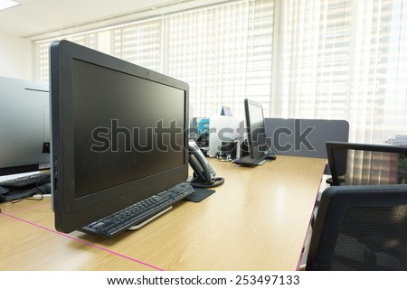 table work in office with black computer pc - stock photo