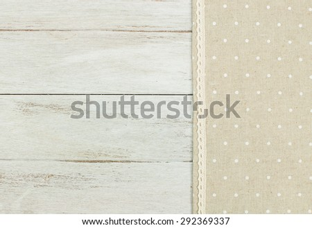 tablecloth on white wooden table. - stock photo